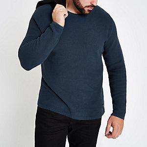 Only & Sons Big & Tall navy crew neck jumper