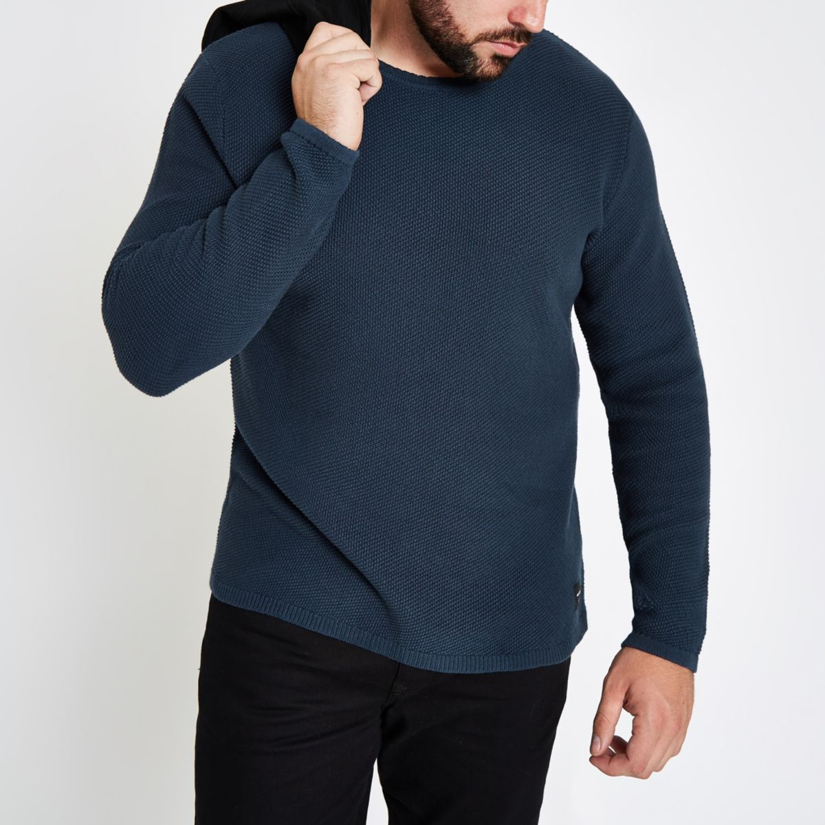 Only & Sons Big & Tall navy crew neck sweater