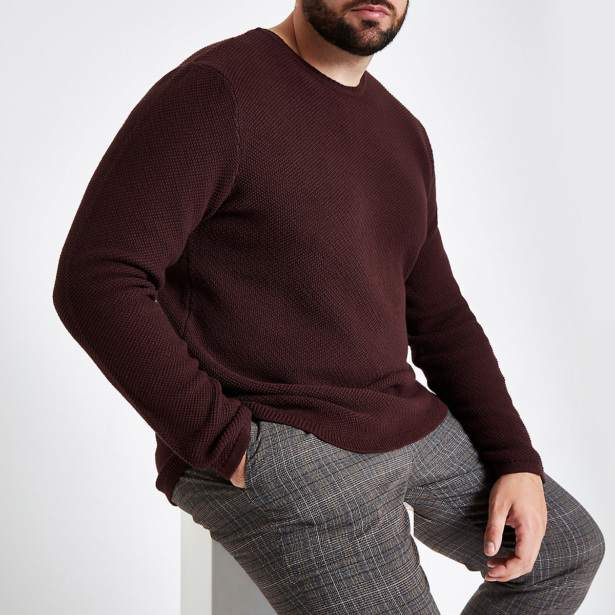 Only & Sons Big & Tall burgundy jumper