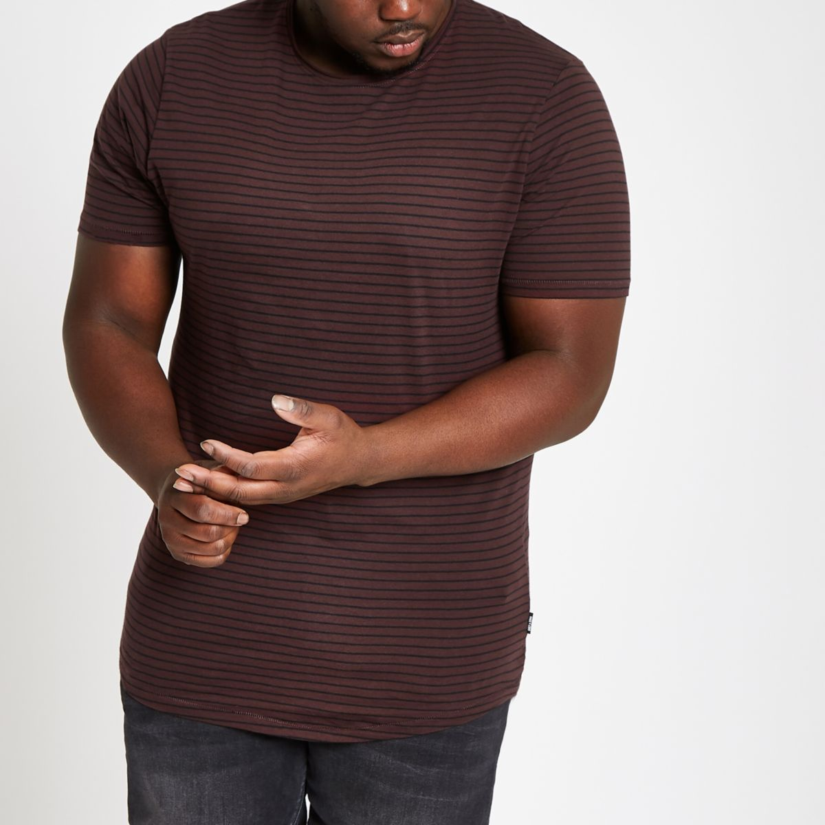 Big & Tall Only & Sons brown stripe T-shirt
