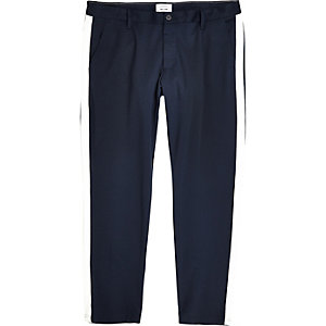 Only & Sons Big & Tall navy tape trousers