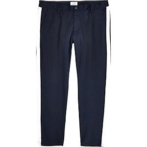 Only & Sons – Big and Tall – Pantalon bleu marine à bandes latérales