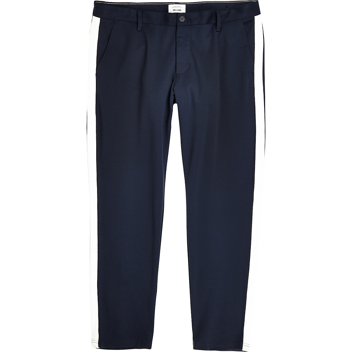 Only & Sons Big and Tall navy tape trousers