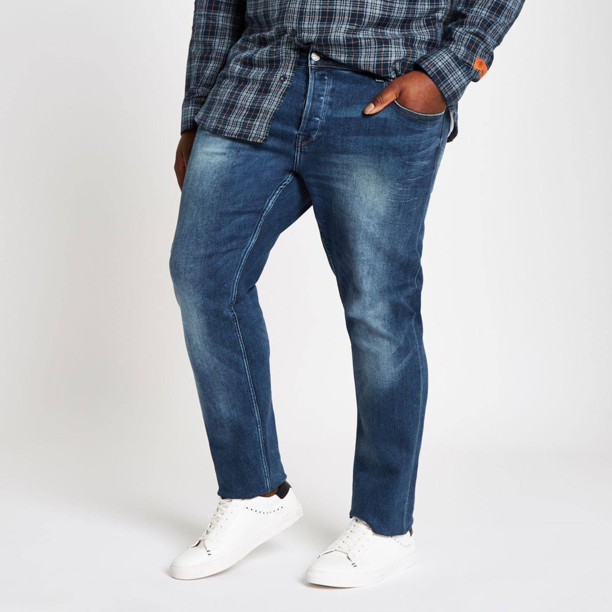Big & Tall Only & Sons blue slim fit jeans