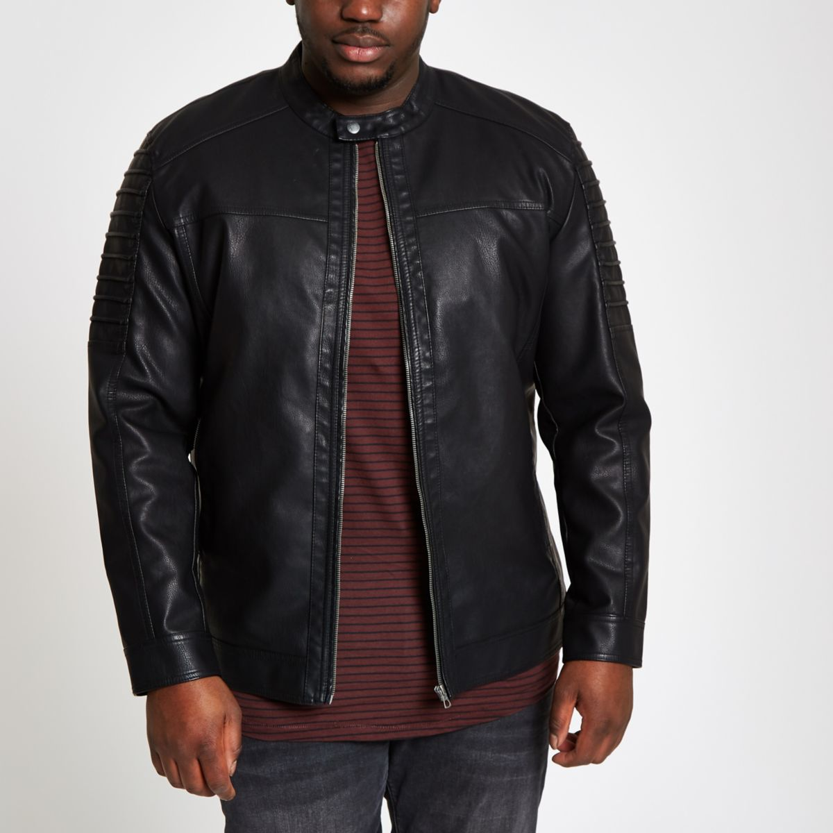 Only & Sons Big & Tall black racer jacket