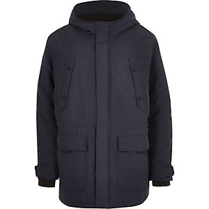 Only & Sons - Big & Tall - Marineblauwe gewatteerde parka