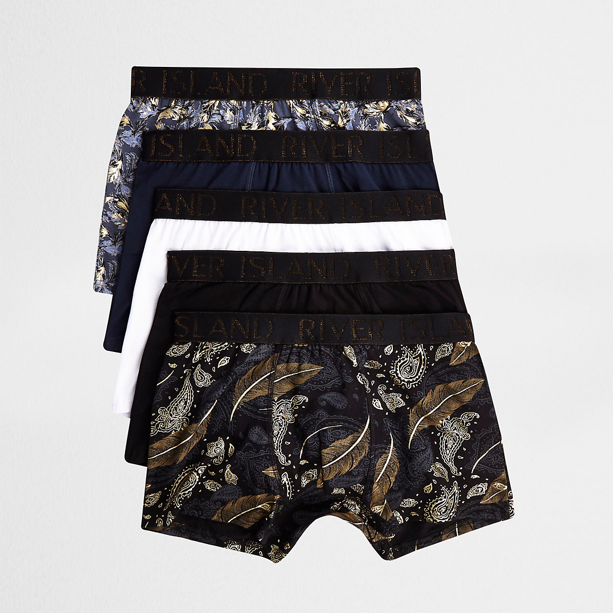 Black paisley gold print trunks multipack