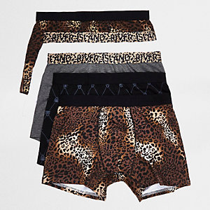 Brown leopard print trunks multipack
