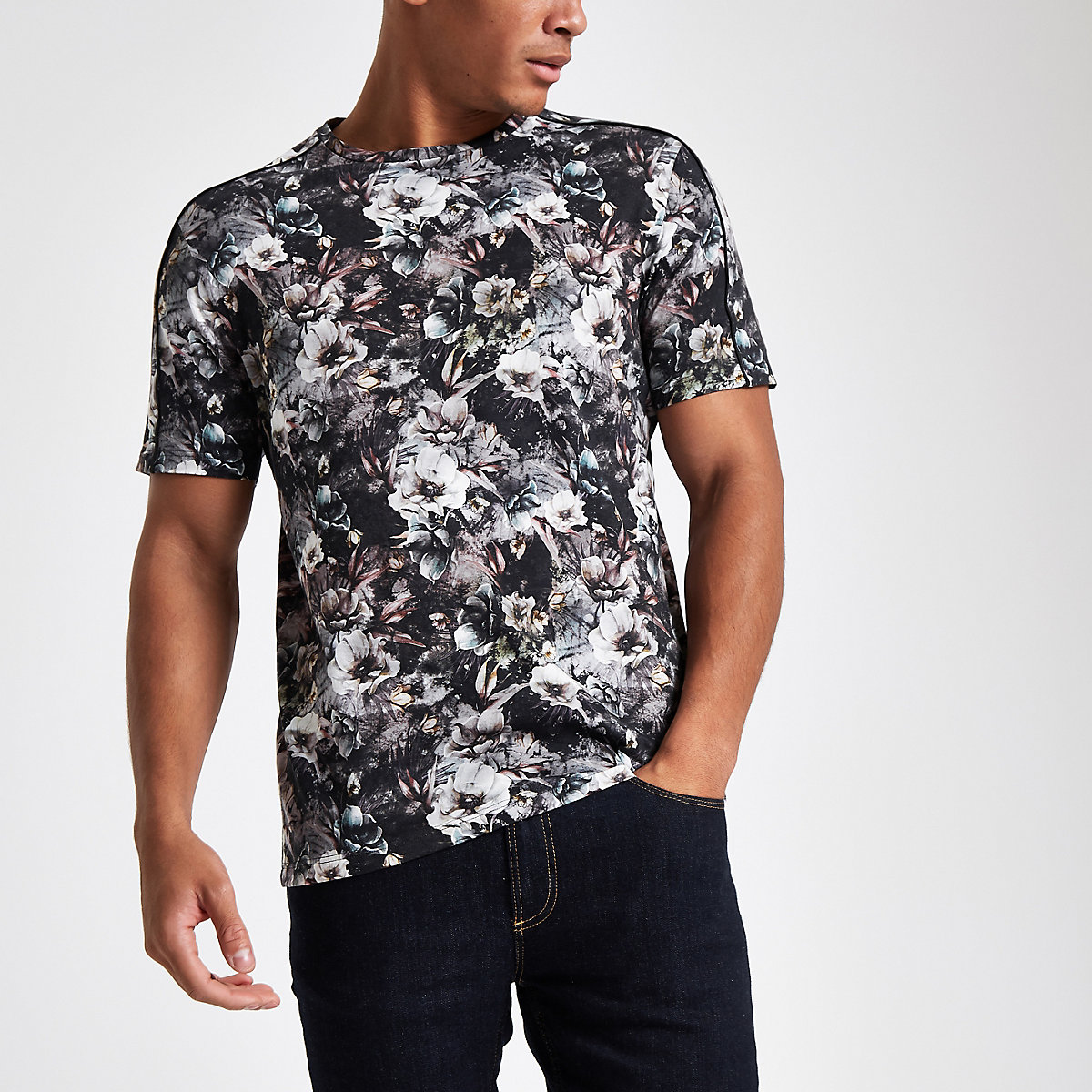 Grey slim fit floral print T-shirt