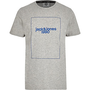 Jack & Jones grey front print T-shirt