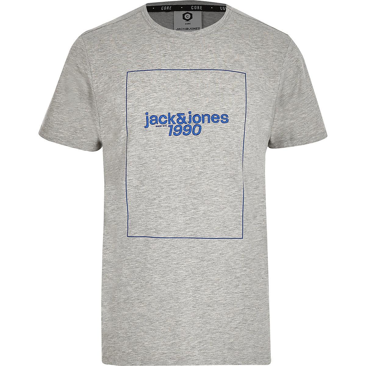 Jack & Jones grey front print T-shirt