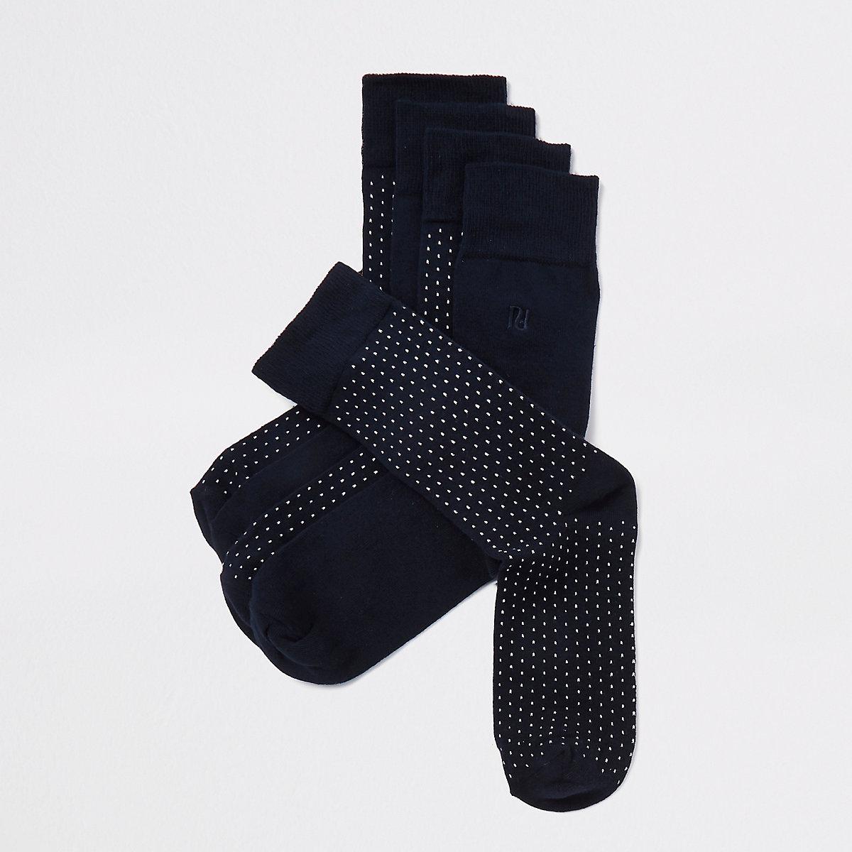 Navy multiprint socks 5 pack
