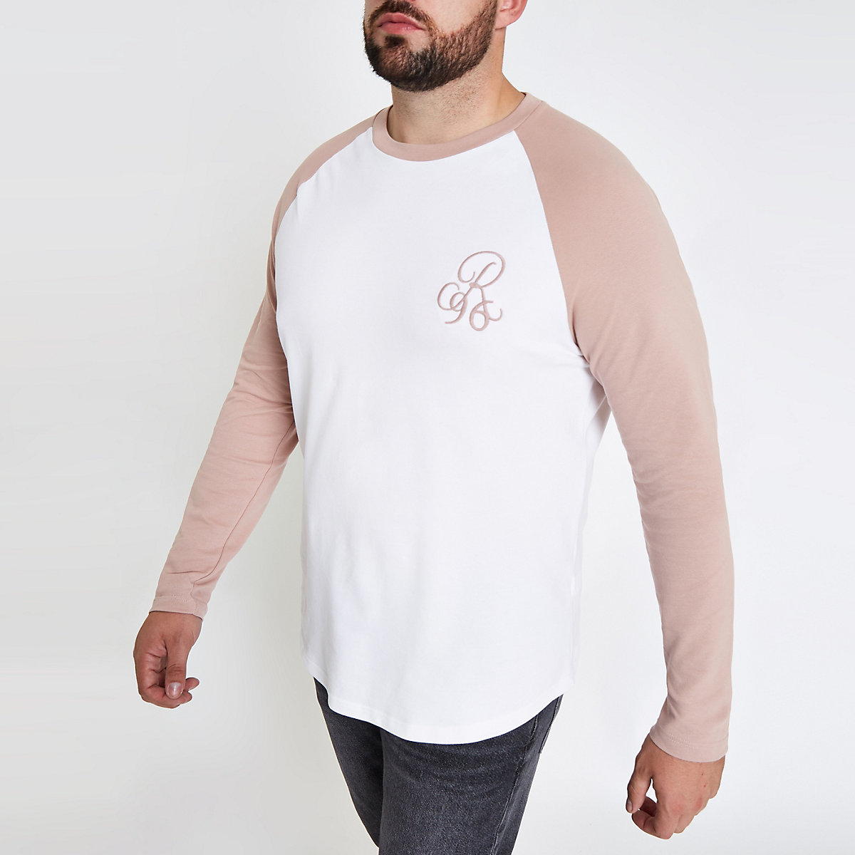Big and Tall white raglan muscle fit T-shirt
