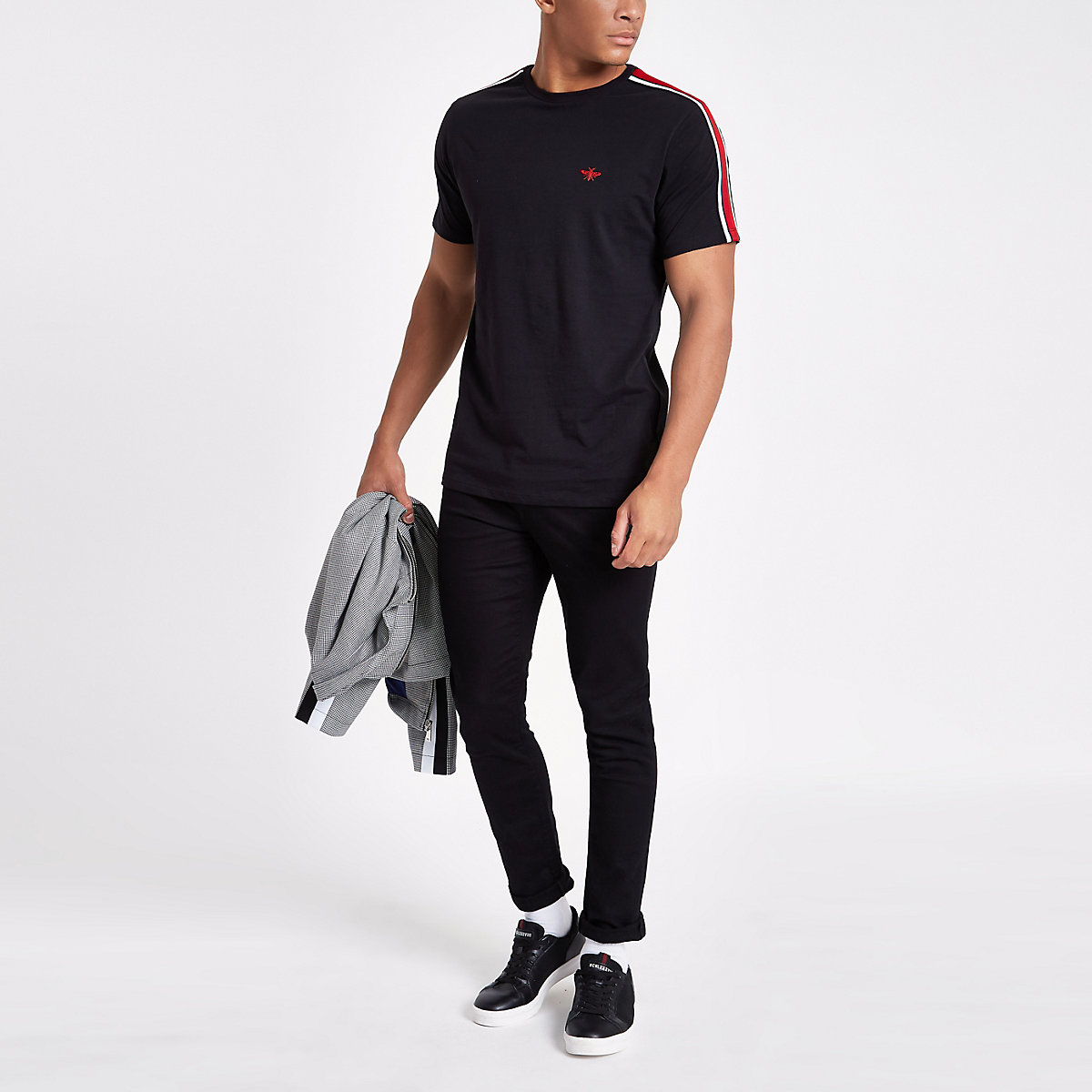 Black slim fit tape wasp embroidery T-shirt