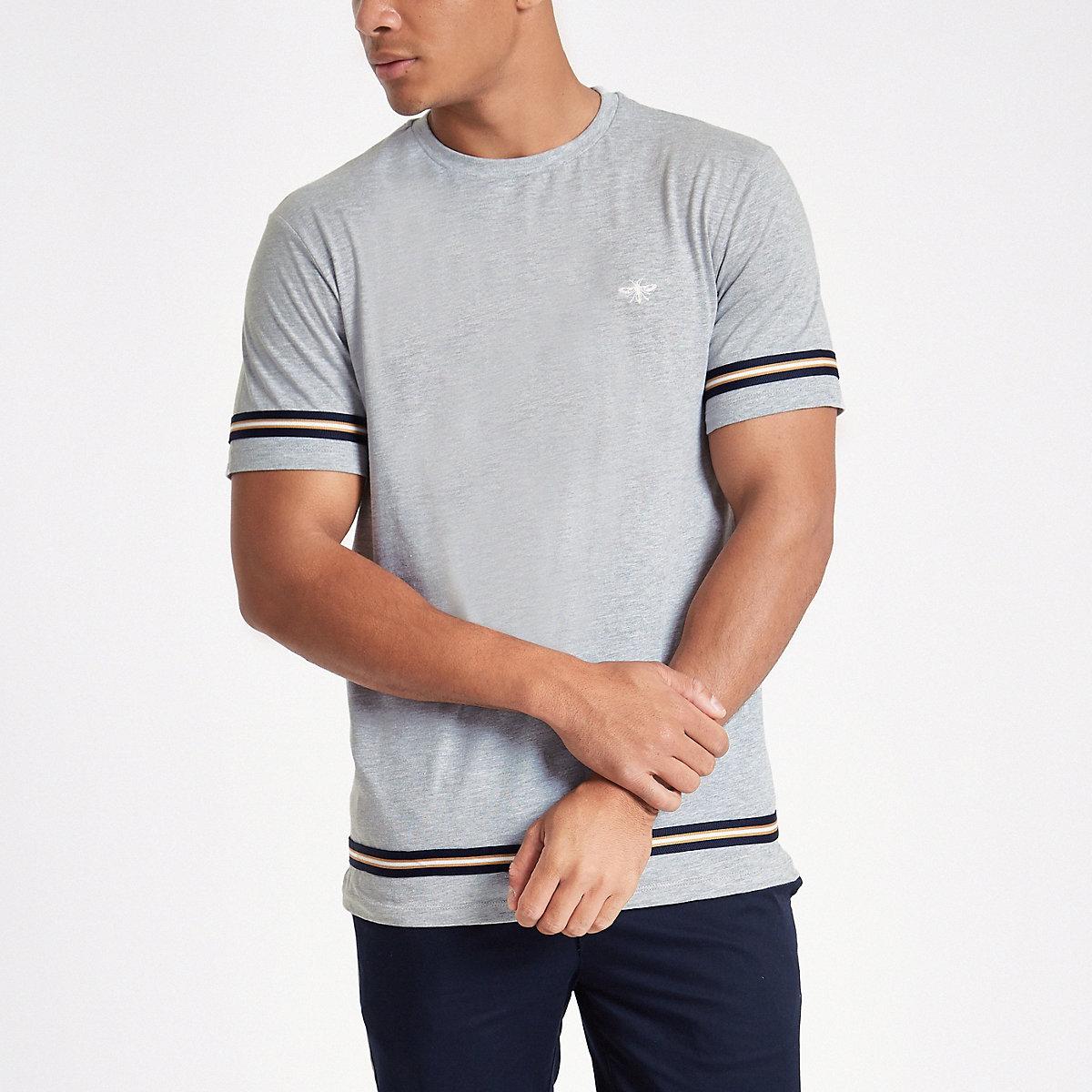 Grey marl slim fit tape T-shirt