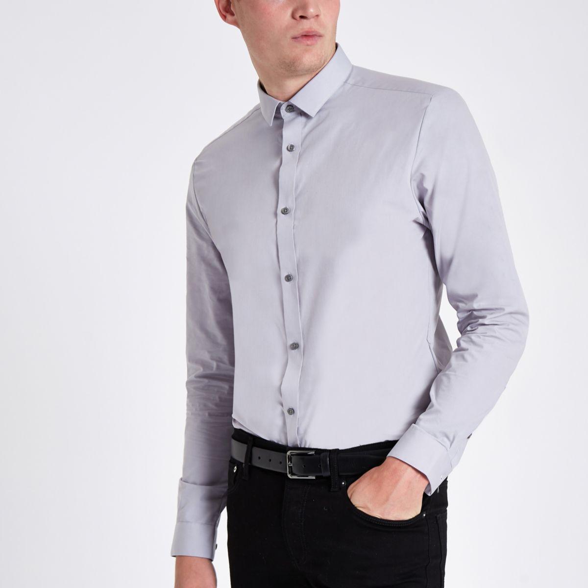 Light grey button-up long sleeve shirt