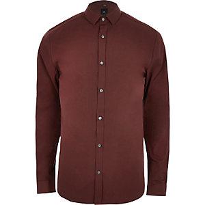 Roestbruin overhemd met lange mouwen