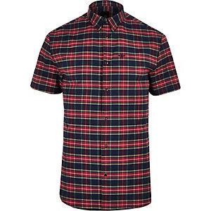 Chemise manches courtes à carreaux rouge avec broderie guêpe