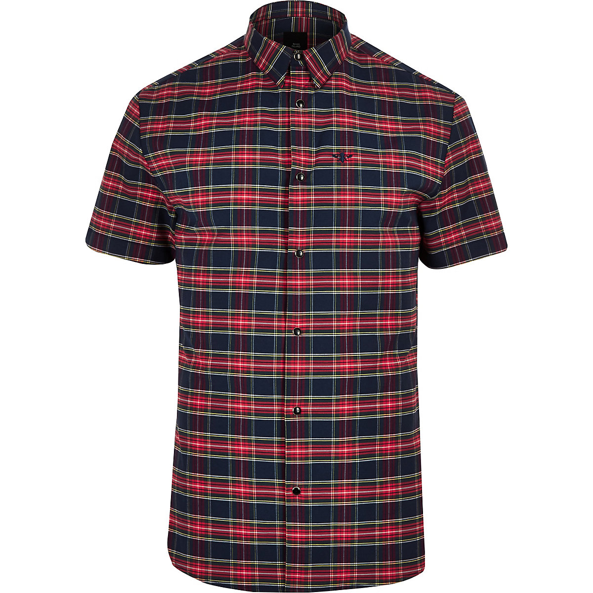 Red check wasp embroidered short sleeve shirt
