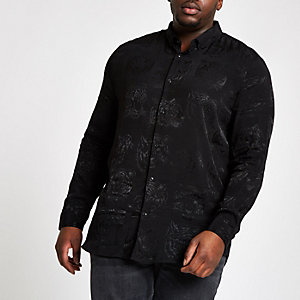 Big and Tall black tiger print shirt