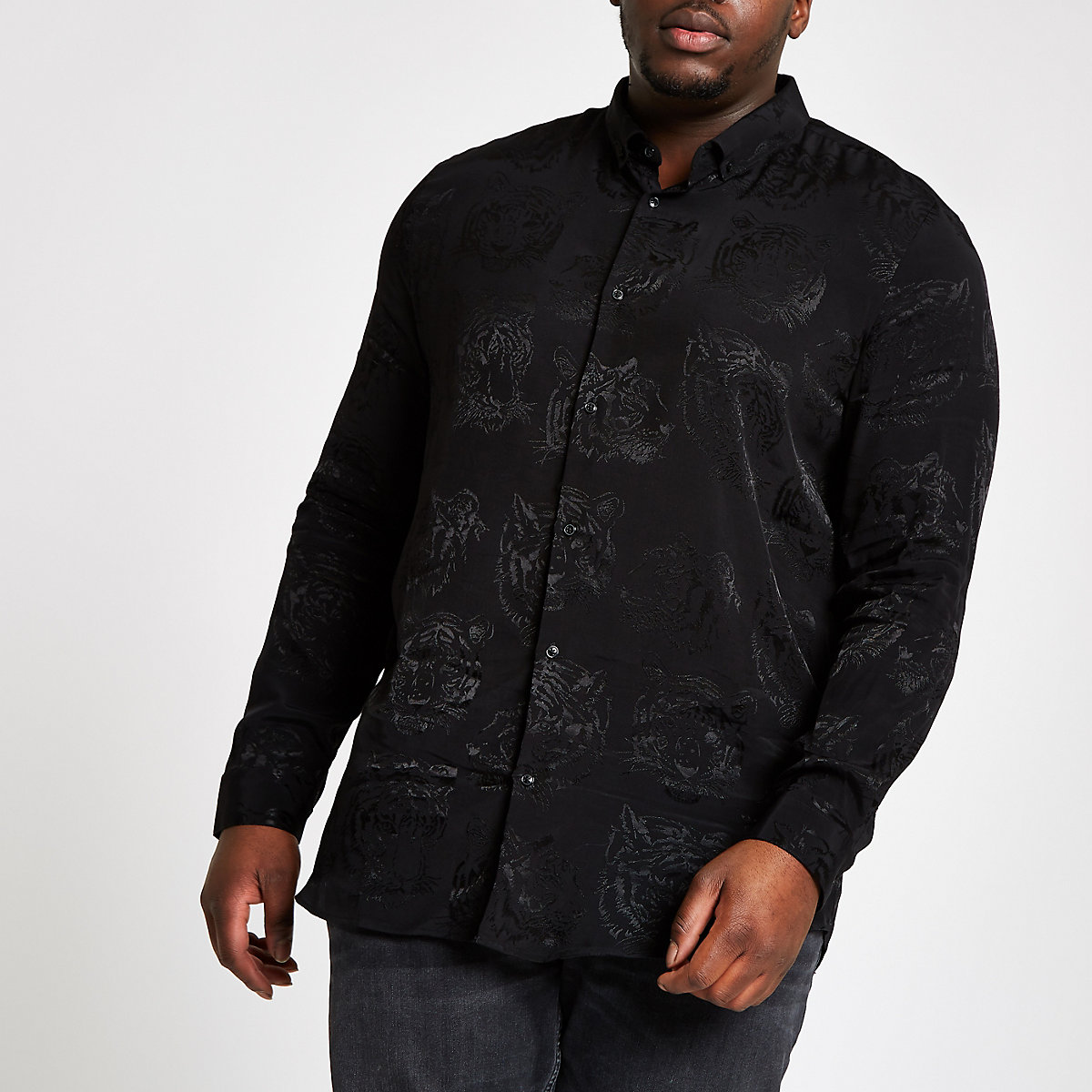 Big and Tall black tiger print shirt