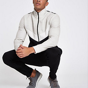 Stone funnel neck chevron track jacket