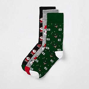 Green Christmas socks 3 pack