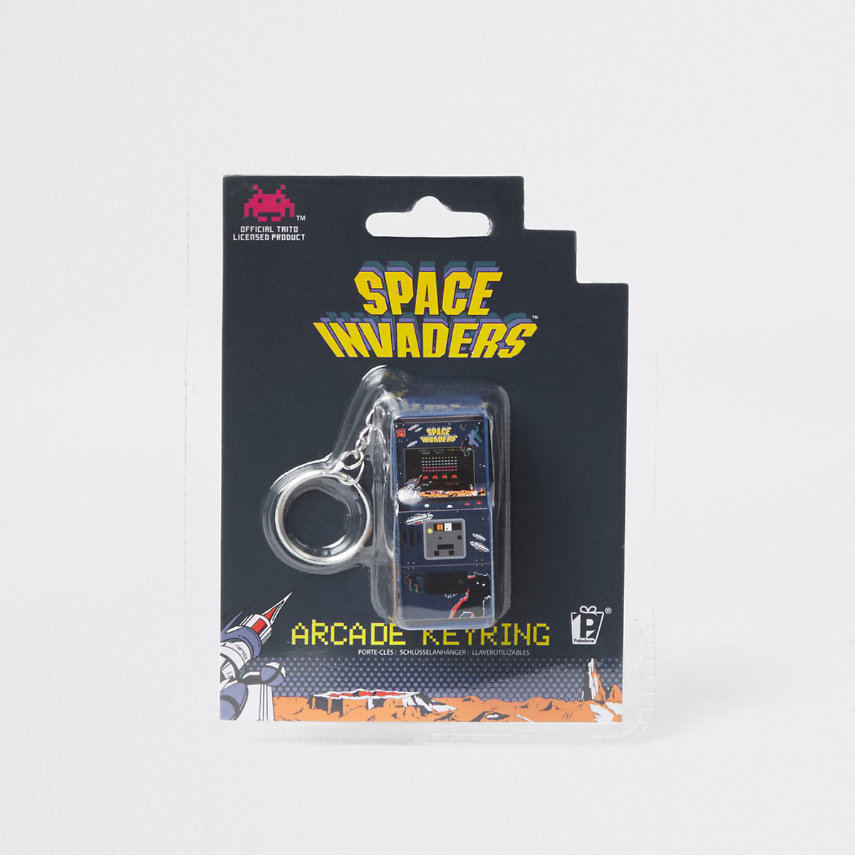 Black Space Invaders arcade keyring