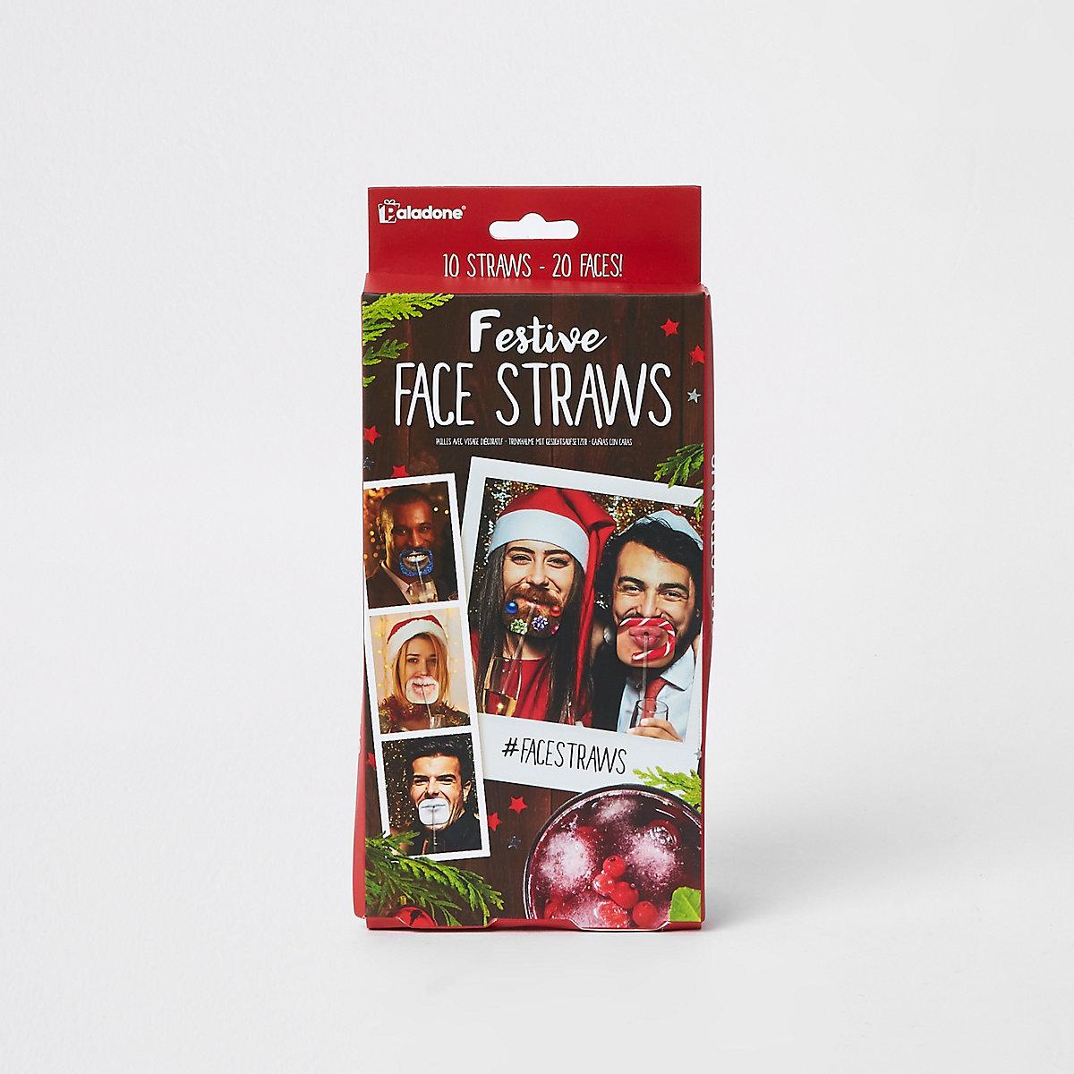 Christmas festive face straws