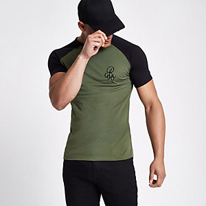 Dark green muscle fit contrast T-shirt