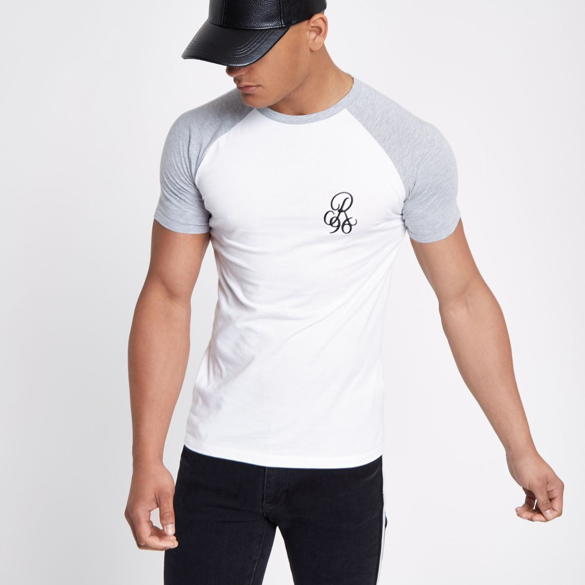 White muscle fit contrast T-shirt
