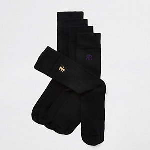 Black RI embroidered socks multipack