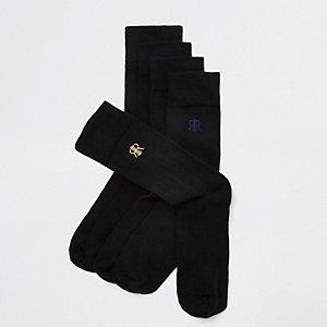 Lot de 5 paires de chaussettes noires à broderie RI