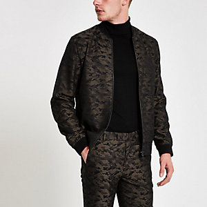 Green camo bomber jacket