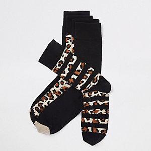 Multipack zwarte sokken met luipaardprint