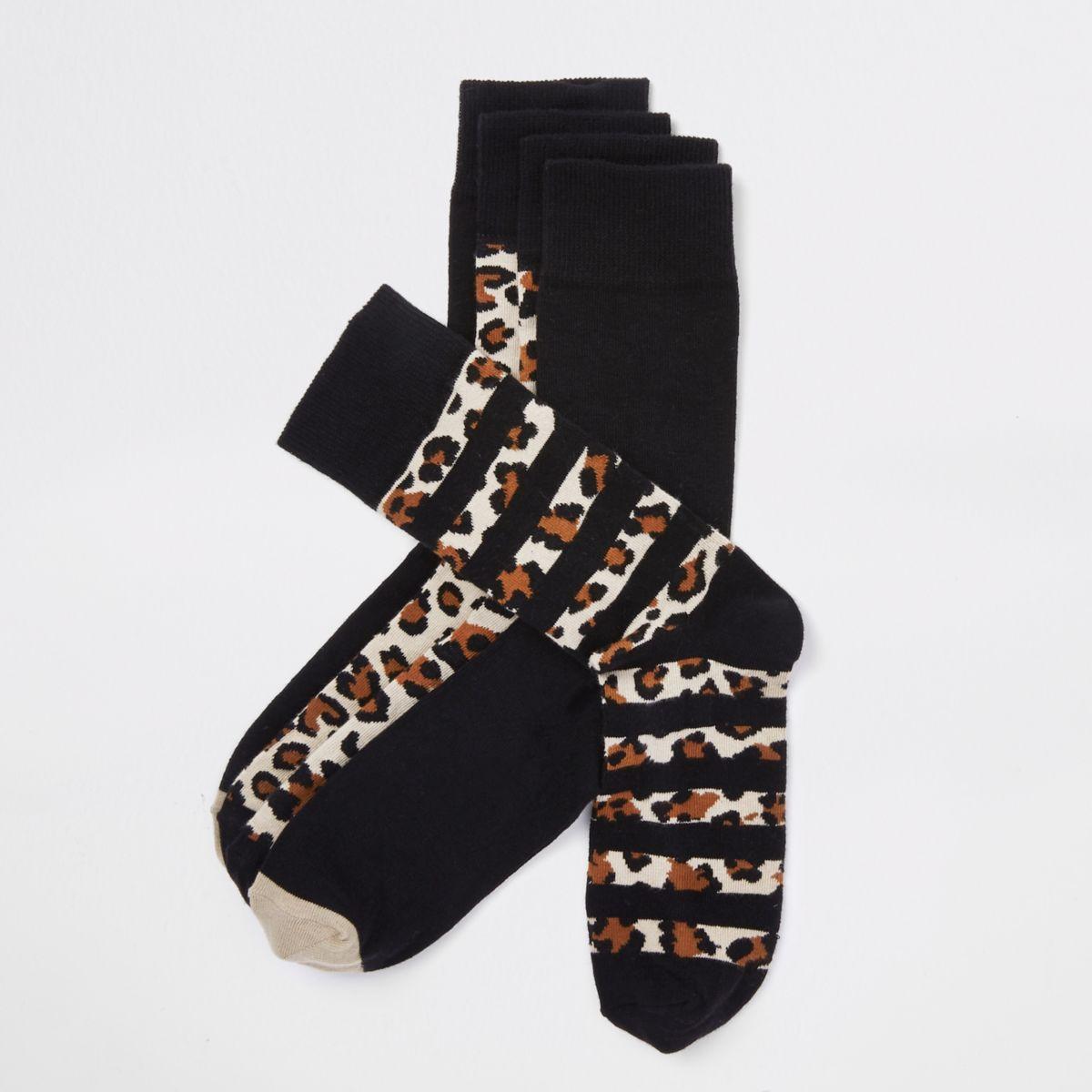 Black leopard print socks multipack