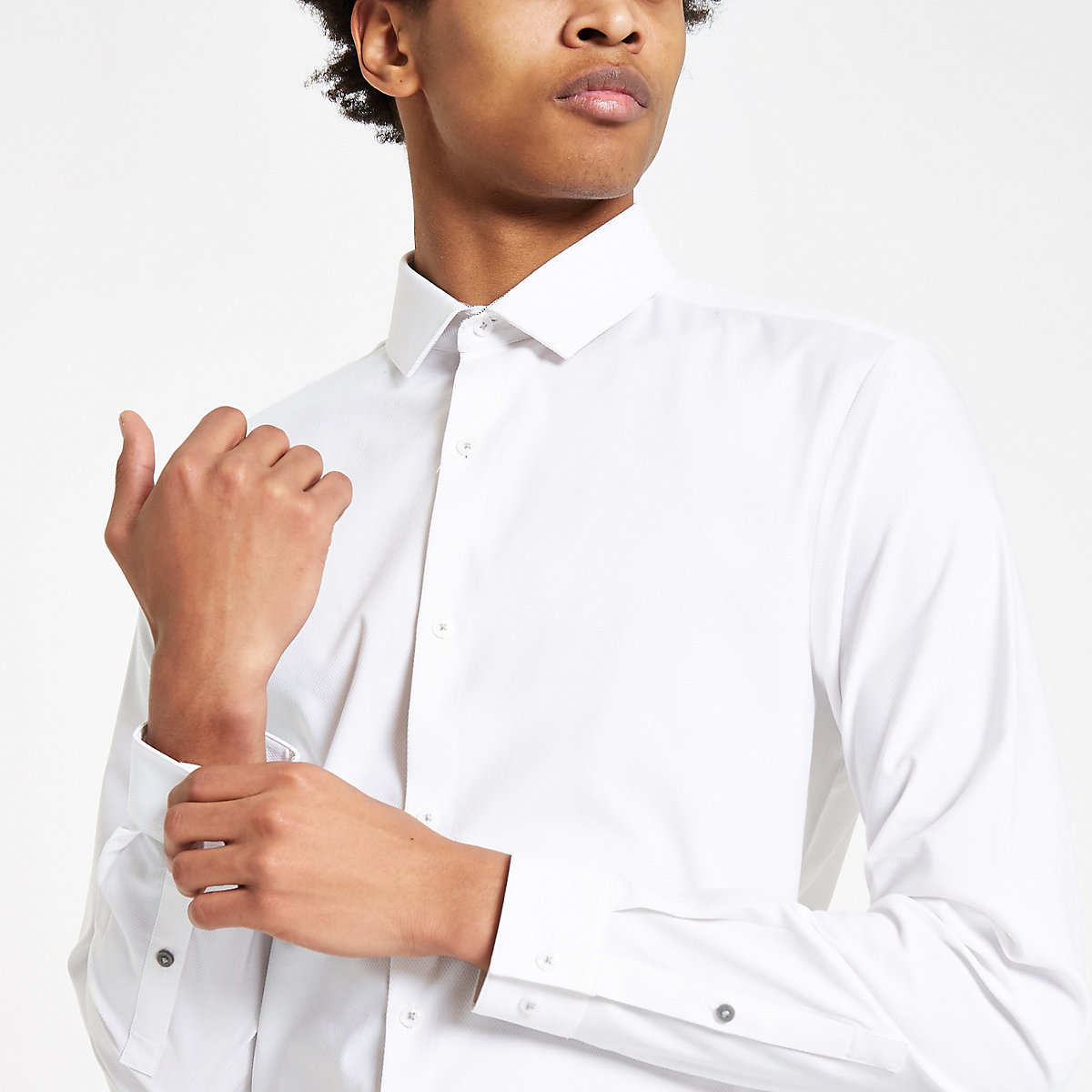 White long sleeve textured button-down shirt