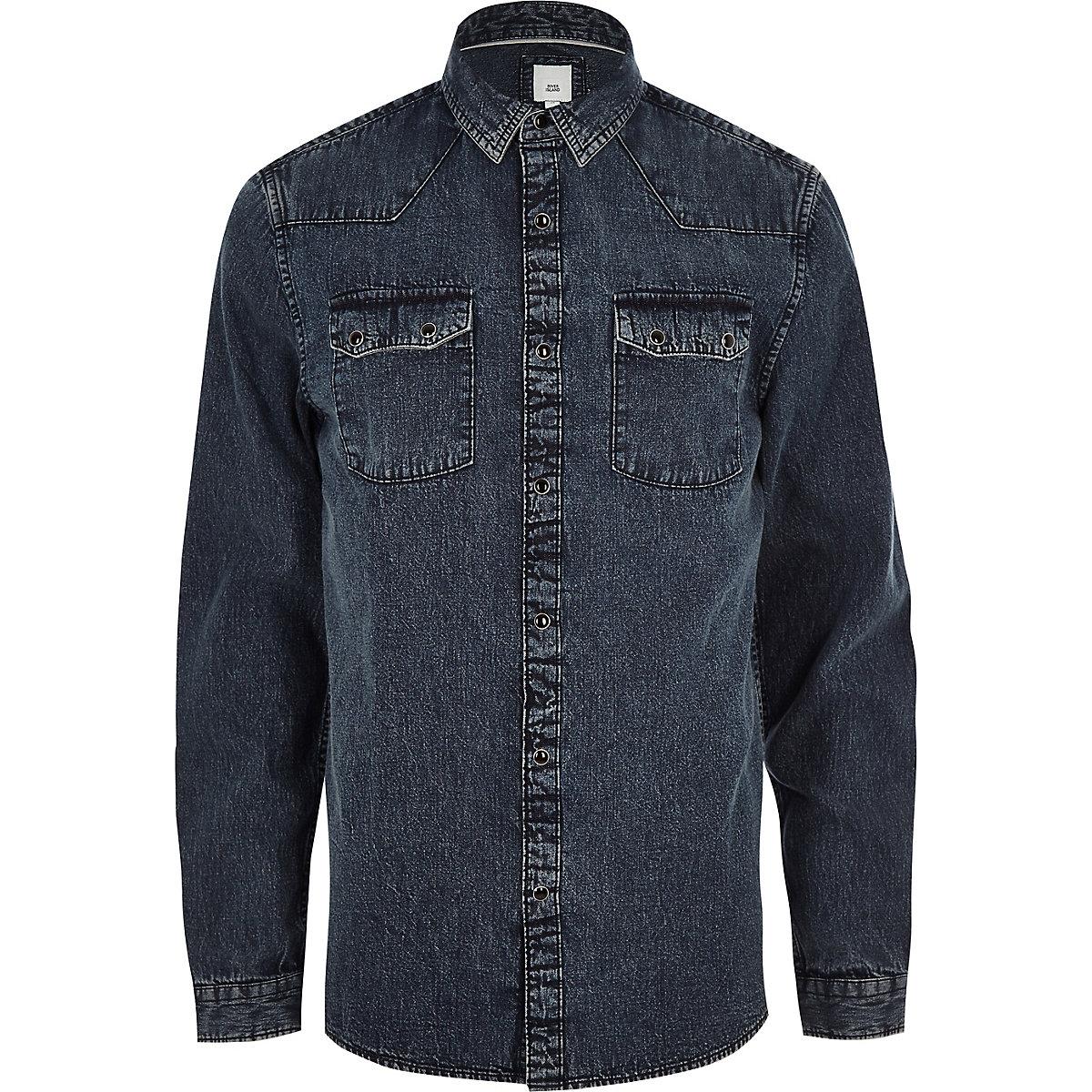 Blue acid wash long sleeve denim shirt