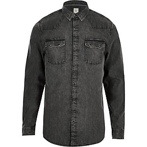 Grey acid wash long sleeve denim shirt