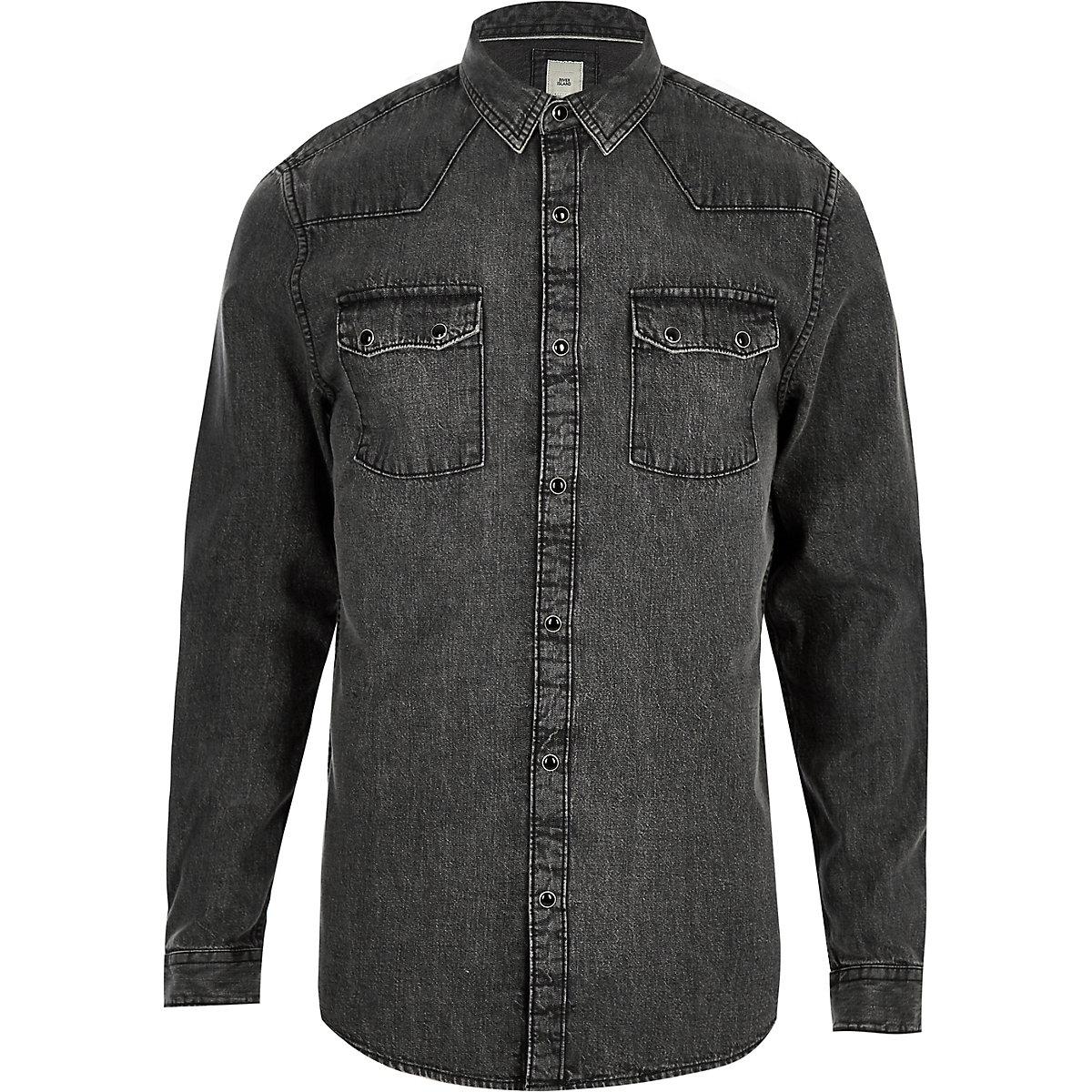 Grey acid wash long sleeve denim shirt