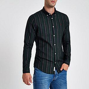 Donkergroen slim-fit overhemd met verschillende strepen
