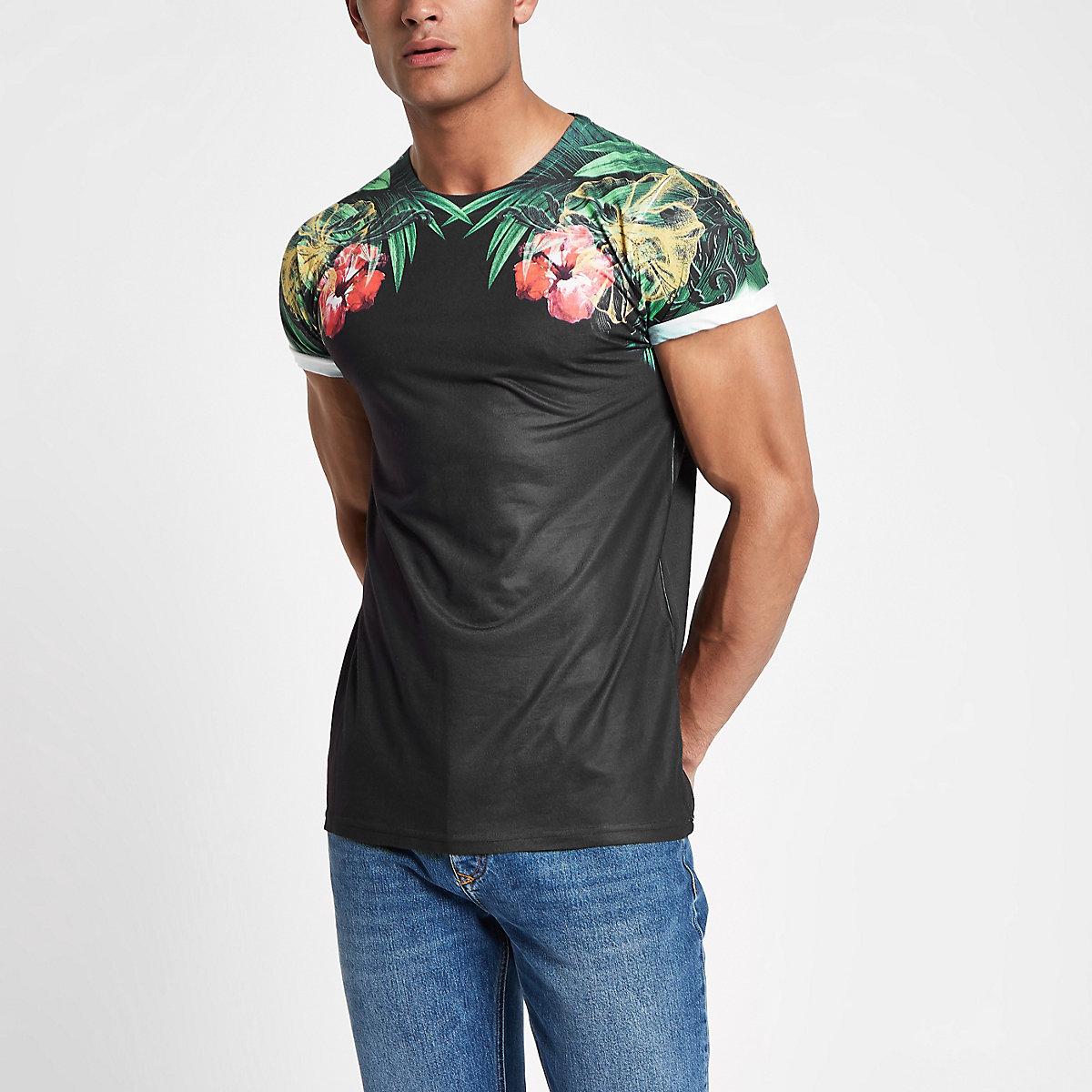 T-shirt slim noir avec imprimé fleurs aux épaules