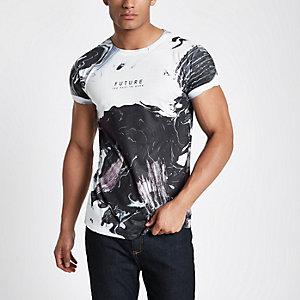 White 'future' smudge print T-shirt