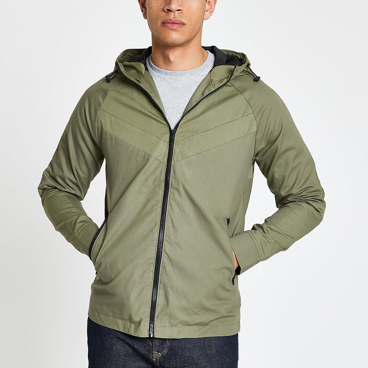 Jack & Jones green lightweight hooded jacket