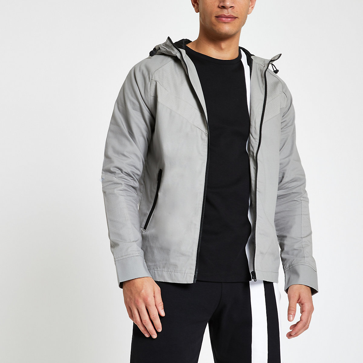 Jack & Jones grey lightweight hooded jacket