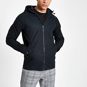 Jack & Jones black lightweight hooded jacket