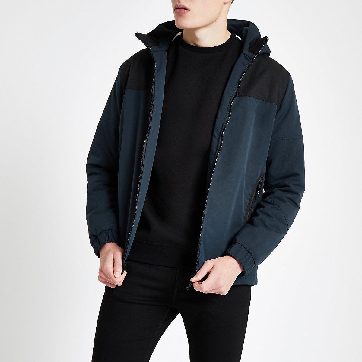 Jack & Jones – Marineblaue Jacke mit Reißverschluss