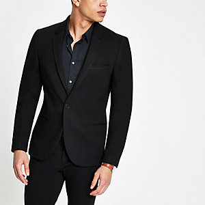 Black jersey super skinny fit suit jacket