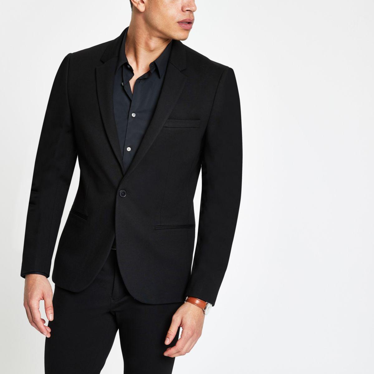Black jersey super skinny fit suit jacket