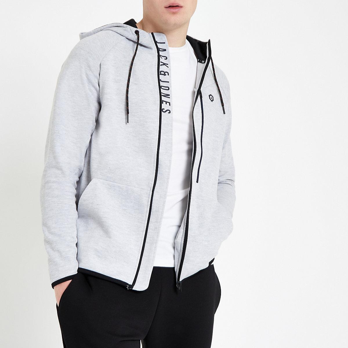 Jack & Jones grey zip up hoodie